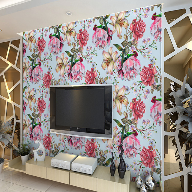 Custom Self-Adhesive Mural Wallpaper With Blue Background And Multicolor Flowers Are Suitable For Bedroom Living Room Hotel Wall Decoration ArtWall Cloth Room Wallcovering