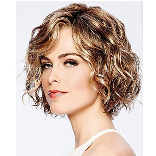 Synthetic Wig Curly Hathaway Layered Haircut Wig Short Chocolate Synthetic Hair 12 inch Women's Women Synthetic Sexy Lady Dark Brown Gold Blonde Ombre hairjoy