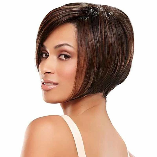 Synthetic Wig Straight Matte Bob Wig Short sepia Synthetic Hair 14 inch Women's Easy dressing Best Quality Comfortable Brown