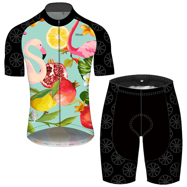 21Grams Men's Short Sleeve Cycling Jersey with Shorts Spandex Polyester Green Bike Clothing Suit UV Resistant Breathable 3D Pad Quick Dry Reflective Strips Sports Solid Color Mountain Bike MTB Road