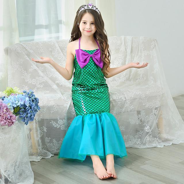 The Little Mermaid Princess Dress Flower Girl Dress Girls' Movie Cosplay A-Line Slip Green Dress Children's Day Masquerade Satin / Tulle