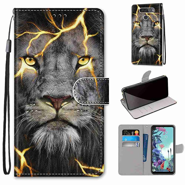 Case For LG Q70 / LG K50S / LG K40S Wallet / Card Holder / with Stand Full Body Cases Fission Lion PU Leather / TPU for LG K30 2019 / LG K20 2019