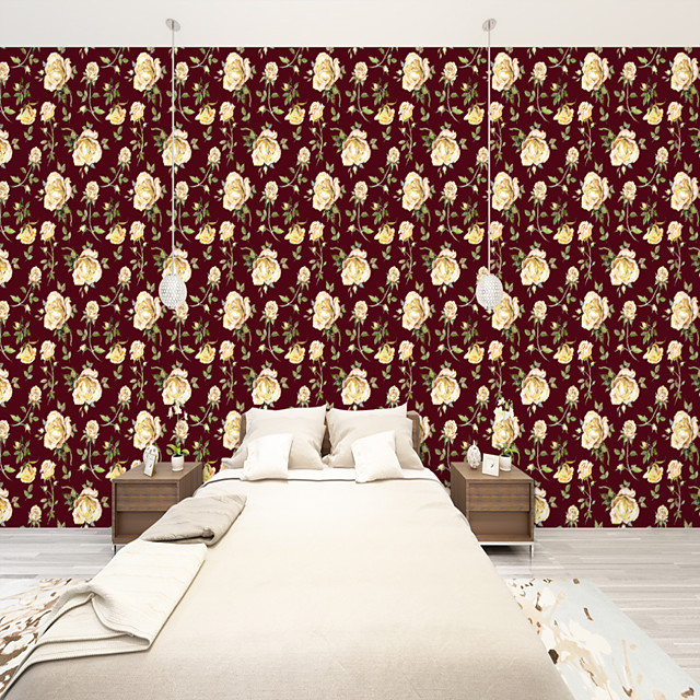 Custom self-adhesive mural wallpaper red background roses suitable for bedroom living room cafe restaurant hotel wall decoration art  Wall Cloth Room Wallcovering Art Deco