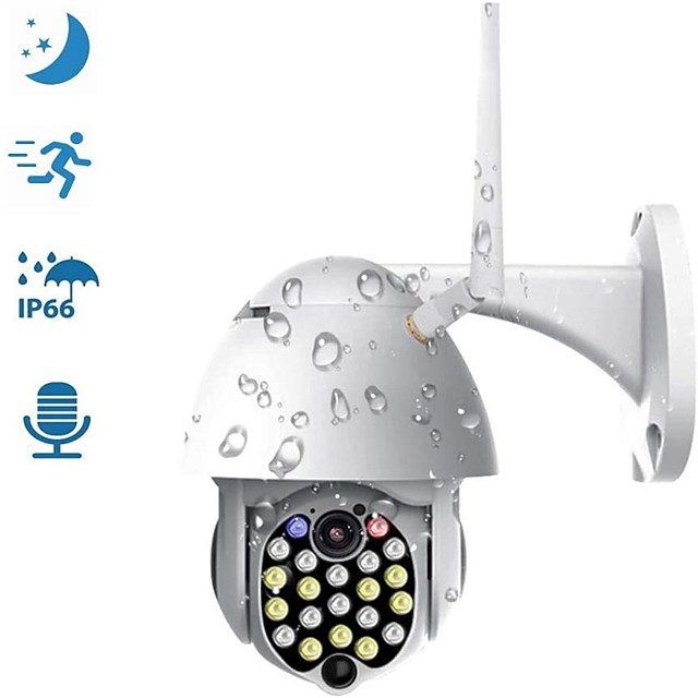 Outdoor PTZ WiFi Security Camera 1080P IP Dome Camera Surveillance CCTV Weatherproof Camera with Two Way Audio Color Night Vision Motion Detection Sound and Light Alarm
