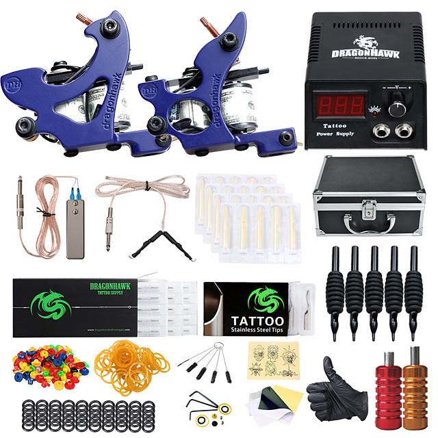 DRAGONHAWK Professional Tattoo Kit Tattoo Machine - 2 pcs Tattoo Machines LCD power supply 2 cast iron machine liner & shader / Case Included