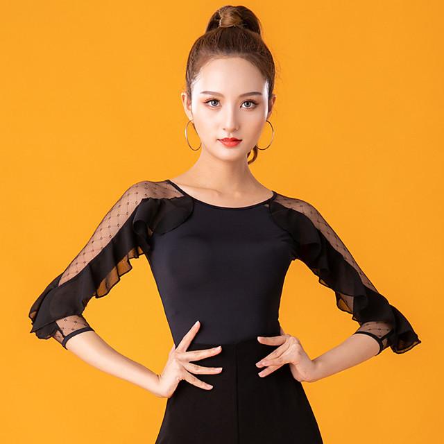 Ballroom Dance Top Lace Ruching Women's Performance 3/4 Length Sleeve Ice Silk