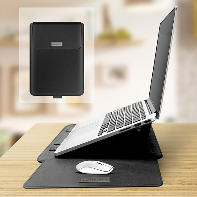 Multifunction Laptop Liner Bag Sleeve with Bracket Stand Function Mousepad Data Cable Bag Mouse Bag Strap Set Built-in Comfortable Plush Anti-fall and Anti-shock for Macbook2020 Ultrabook