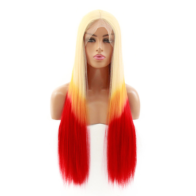 Synthetic Lace Front Wig Straight Kardashian Middle Part Lace Front Wig Blonde Ombre Long Ombre Blonde Synthetic Hair 22-26 inch Women's Heat Resistant Women Hot Sale Blonde Ombre / Glueless