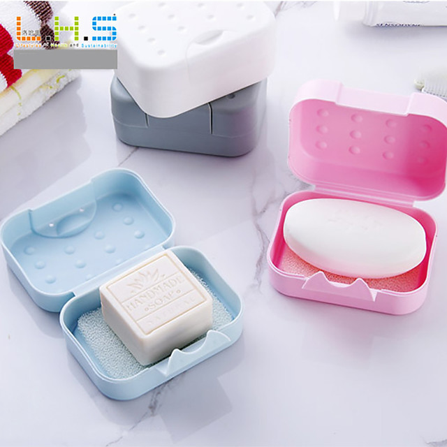 Portable Mini Handy Bathroom Dish Plate Case Home Shower Outdoor Travel Hiking Holder Container Sealing Soap Box Random Color
