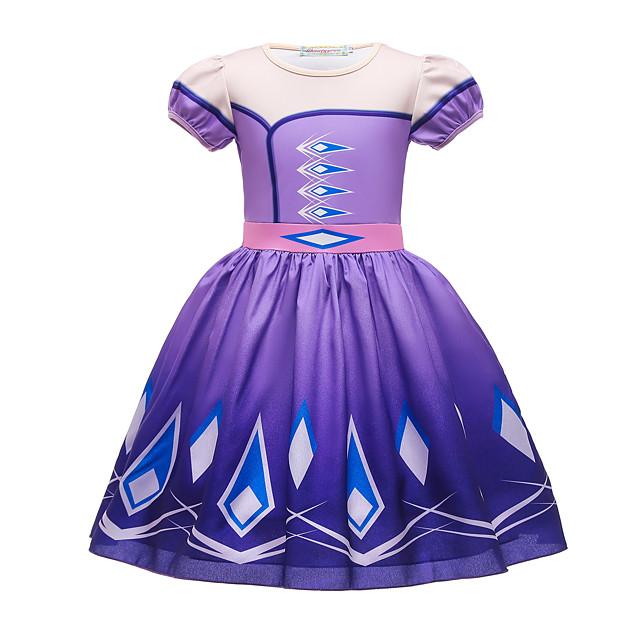 Frozen Princess Dress Girls' Movie Cosplay Halloween Christmas Purple / Blue Dress Christmas Halloween