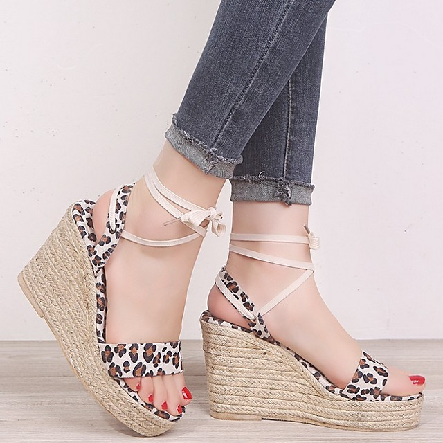 Women's Sandals Wedge Sandals Summer Wedge Heel Open Toe Daily Animal Patterned PU Yellow / Beige / Animal Print