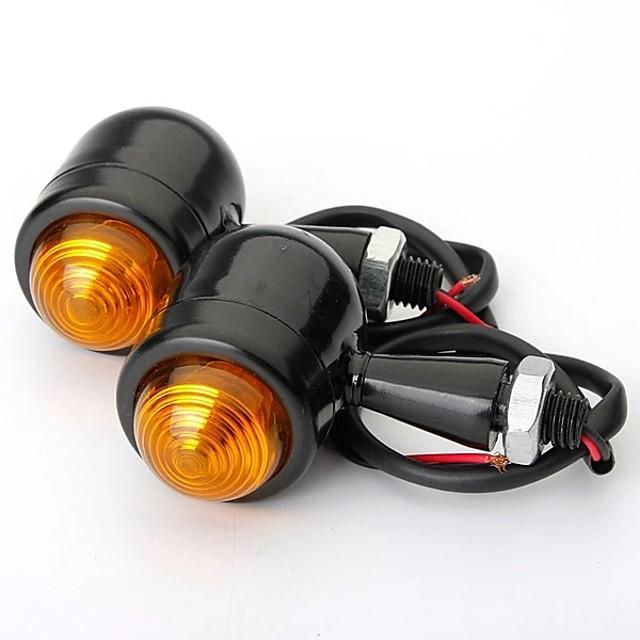 4pcs Black Amber Lens Mini Bullet Bulb Turn Signal Black Front Rear Light For Harley