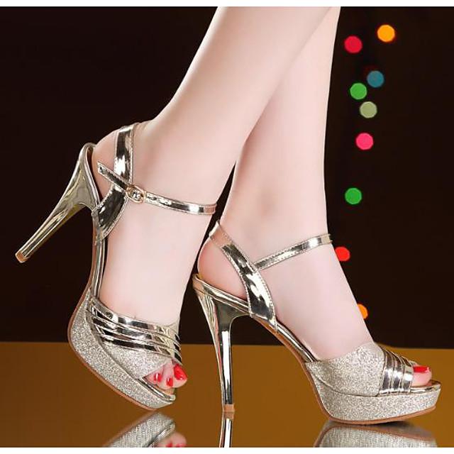Women's Sandals Summer Stiletto Heel Open Toe Daily PU Gold / Silver