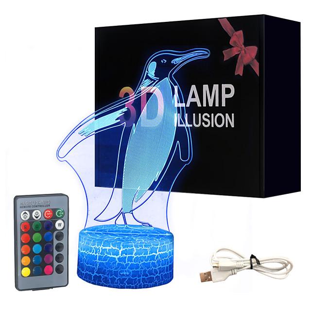 Penguin White Base Lovely 16 Color Change 3D Lamp Novelty Kids Room Led Lamp Decorations Gift for Baby Room Lights