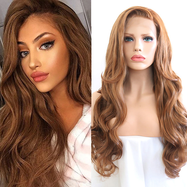 Synthetic Lace Front Wig Wavy Side Part Lace Front Wig Blonde Long Golden Brown / Ash Blonde Synthetic Hair 18-26 inch Women's Cosplay Soft Adjustable Blonde
