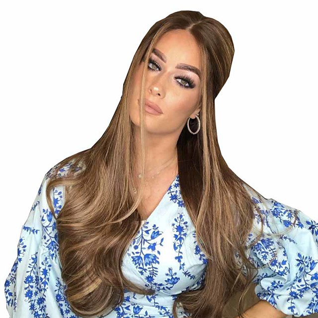 Synthetic Wig Matte Body Wave Middle Part Wig Very Long Light Brown Synthetic Hair 26 inch Women's Color Gradient Middle Part curling Brown