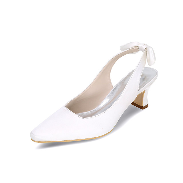 Women's Heels / Wedding Shoes Spring / Summer Block Heel Square Toe Minimalism Wedding Party & Evening Satin Flower Solid Colored Satin White / Black / Purple