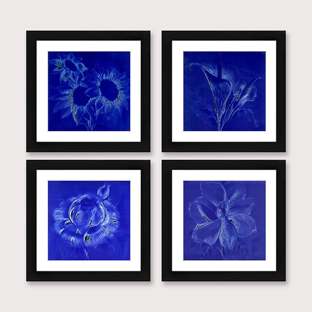 Framed Art Print Framed Set 4 Blue Abstract Flower PS Illustration Wall Art Ready To Hang