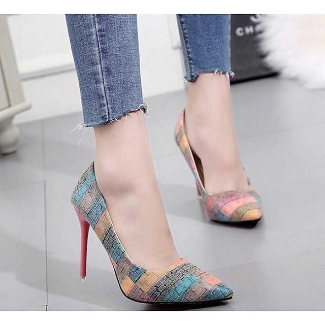 Women's Heels Summer Stiletto Heel Pointed Toe Daily PU Orange / Blue