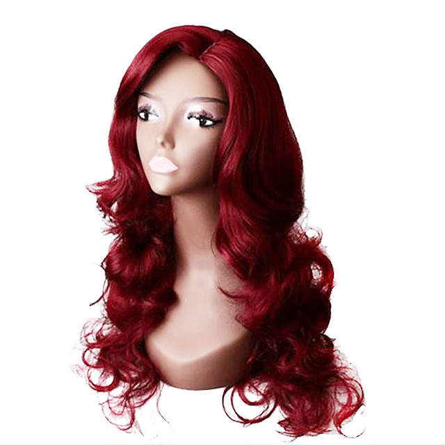 Synthetic Wig Body Wave Asymmetrical Wig Long Burgundy Synthetic Hair 28 inch Women's Party Red