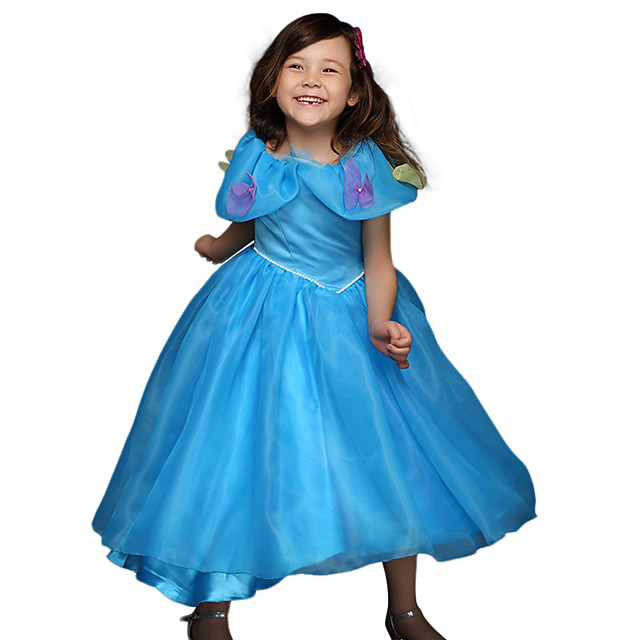Princess Cinderella Anna Dress Flower Girl Dress Girls' Movie Cosplay A-Line Slip Vacation Dress Blue Dress Children's Day Masquerade Tulle Polyester