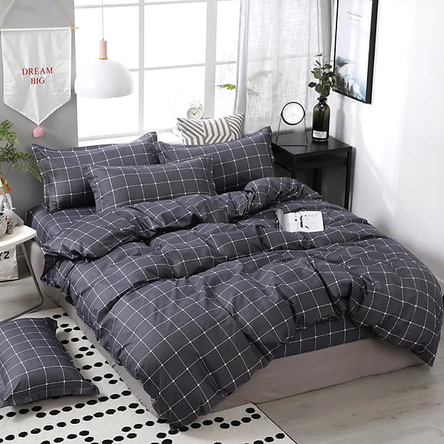 Grey Grid Bedding Sets Duvet Cover Sets Cotton Bedding Grey Grid Plaid Geometric Modern Pattern Printed on White with Zipper Closure