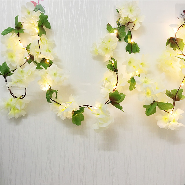 2pcs 2m 20LEDs Artificial Cherry Blossoms Flower LED Fairy String Lights 2pcs 1pc Wedding Valentine's Day Party Home Decor Garland Warm White Lighting (Come Without Battery)