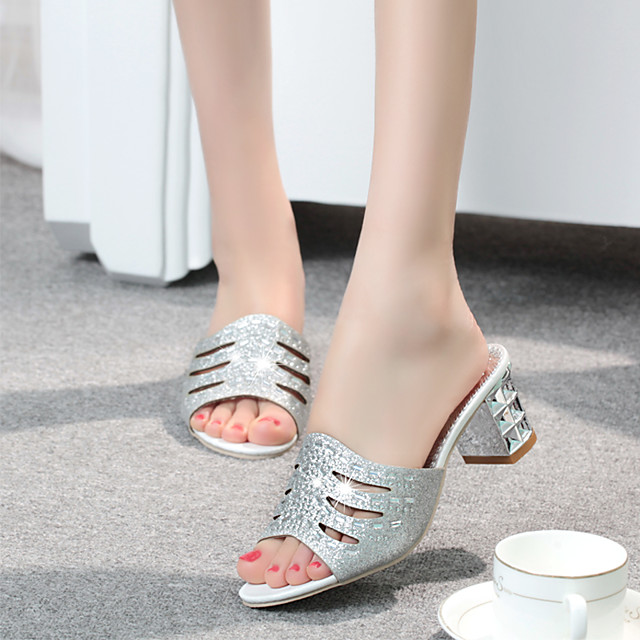 Women's Sandals 2020 Summer Pumps Open Toe Casual Daily Home Rhinestone Faux Leather Gold / Silver
