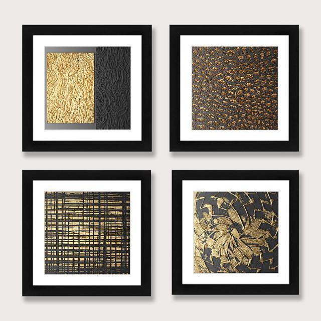 Framed Art Print Framed Set 4 - Abstract Aureate Sofa Setting Wall Art Ready to Hangs