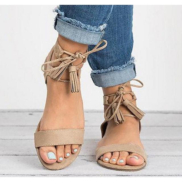Women's Sandals Flat Sandal Summer Flat Heel Open Toe Daily PU Black / Khaki