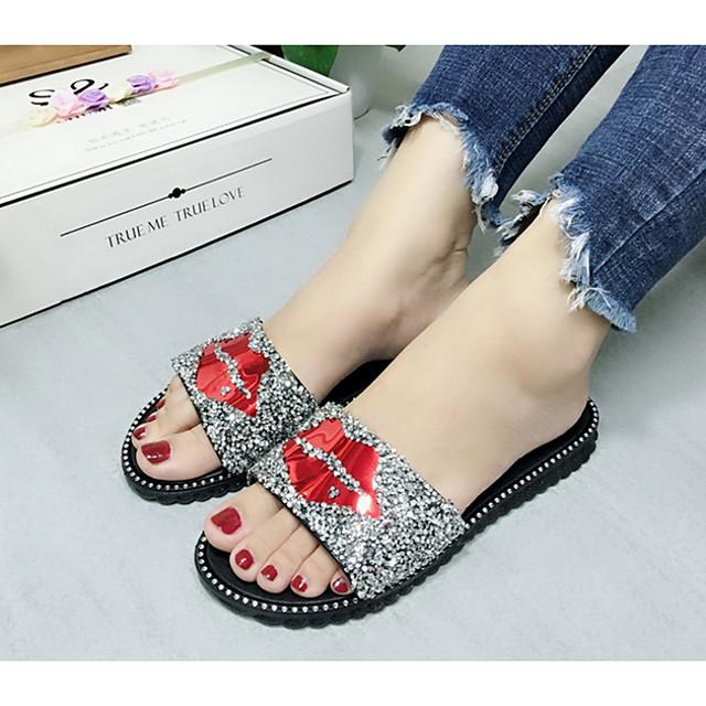 Women's Sandals Flat Sandal Summer Flat Heel Open Toe Daily PVC Black / Gold / Silver