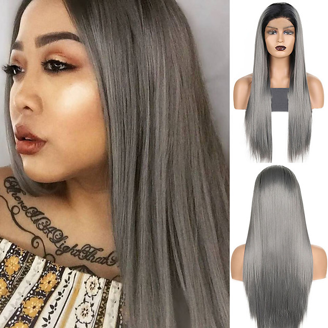 Synthetic Lace Front Wig Straight Middle Part Lace Front Wig Ombre Long Ombre Grey Synthetic Hair 18-26 inch Women's Cosplay Soft Adjustable Gray Ombre