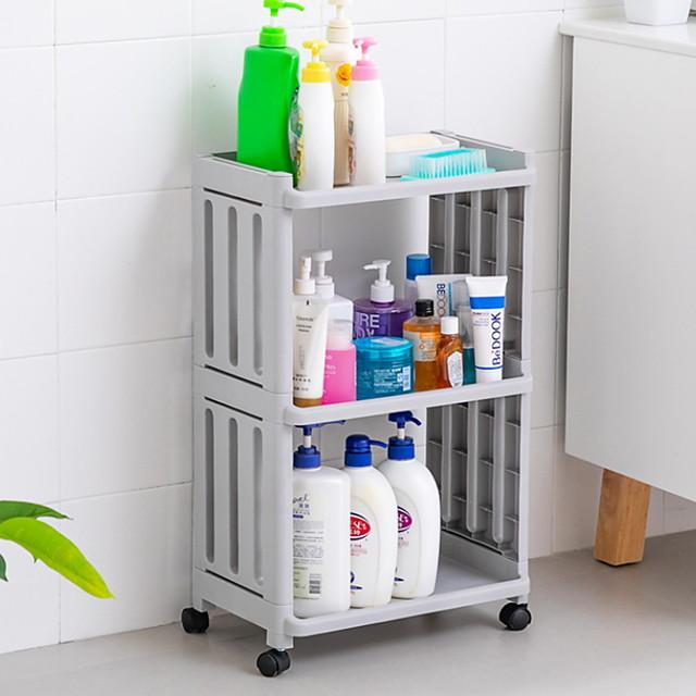 Hollow Fence Bathroom Shelf Multi-layer Toilet Bathroom Kitchen Storage Shelf With Wheel Storage Shelf