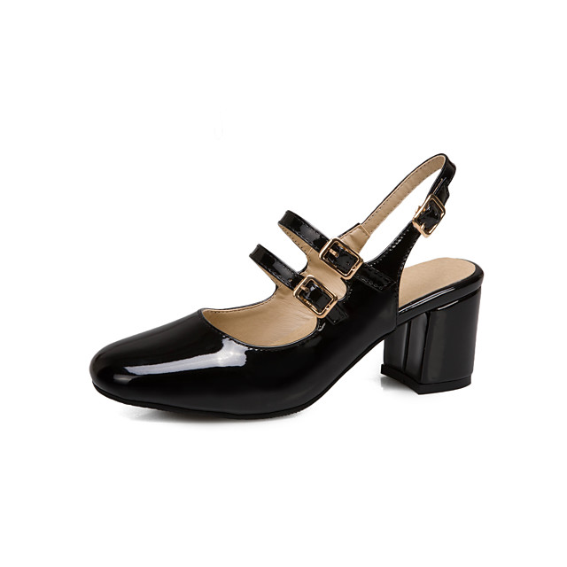 Women's Sandals 2020 Summer Pumps Square Toe Minimalism Party & Evening Buckle Solid Colored Patent Leather Black / Red / Beige