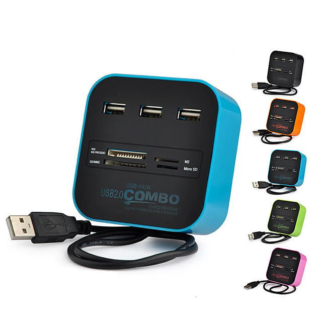 All-in-one USB 2.0 Hub 3 Ports TF Micro SD Card Reader Slot USB Combo Multi USB Splitter Cables