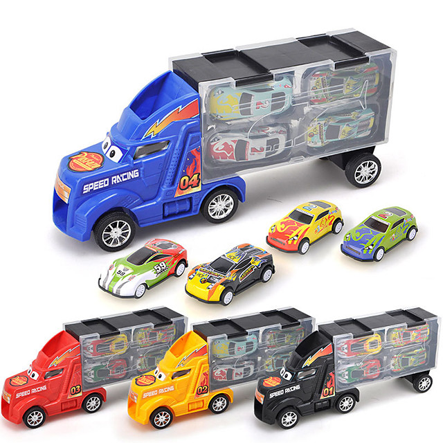1:24 Toy Car Vehicle Playset Pull Back Car / Inertia Car Mini Truck Cartoon Toy Colorful Metal Alloy Mini Car Vehicles Toys for Party Favor or Kids Birthday Gift Random Colors 4 pcs