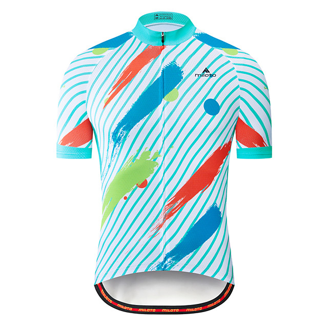 Miloto Men's Short Sleeve Cycling Jersey Red+Blue Bike Jersey Top Mountain Bike MTB Road Bike Cycling Breathable Quick Dry Sports Clothing Apparel / Stretchy