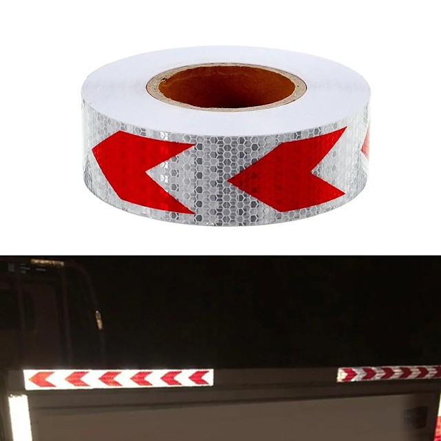 36m Arrow Sticker Red White Night Reflective Sticker Safety Warning Conspicuity Tape Strip