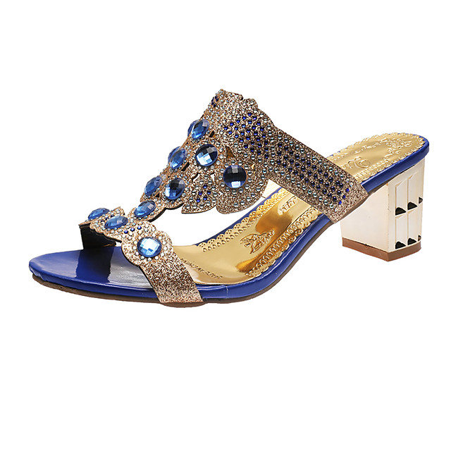 Women's Sandals 2020 Summer Pumps Open Toe Casual Daily Home Rhinestone Faux Leather Black / Gold / Blue