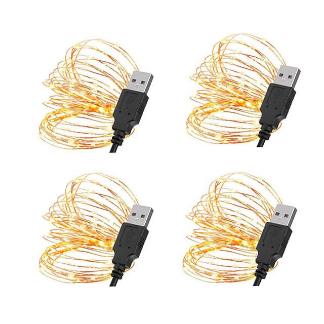 5m String Lights 50 LEDs SMD 0603 10pcs 8pcs 6pcs Warm White White Red Christmas New Year's Waterproof USB Decorative USB Powered