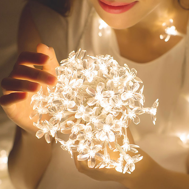 10m Romantic Sakura String Lights 80 LEDs  Warm White White Blue Halloween Christmas Party Fantasy Fairy Tale World Decorative Wedding  Garden Courtyard Decoration Lamp AA Batteries Powered 1 set