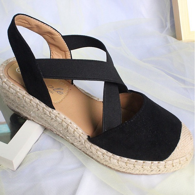 Women's Sandals Wedge Sandals Summer Wedge Heel Round Toe Daily PU Black / Yellow / Pink