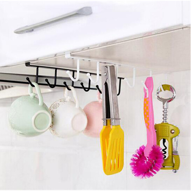 Cabinet Storage Rack Multi-function Wrought Iron Hook Wardrobe Closet Rack Kitchen Storage Organization 6 Pieces Hook