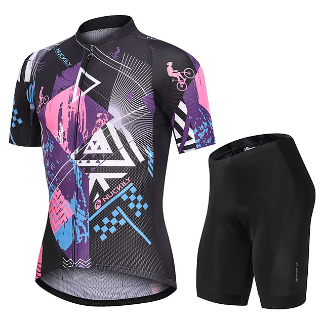 Nuckily Men's Short Sleeve Cycling Jersey with Shorts Black Funny Bike Sports Funny Road Bike Cycling Clothing Apparel