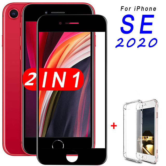 2-in-1 Glass  Case For iPhone SE 2020 Screen Protector Tempered Glass for Apple iPhone SE (2020) Camera Protector Glass