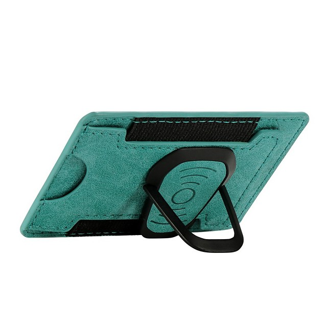 Universal Leather Card Holder Wallet with Metal Mobile Phone Finger Ring Holder 360 Rotate Stand for iphone Sumsang Huawei Xiaomi One Plus Car Holder
