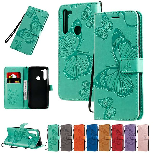 Case For Motorola MOTO E6 / MOTO E6 plus / MOTO G8PLUS Wallet / Card Holder / with Stand Full Body Cases Butterfly / Solid Colored PU Leather