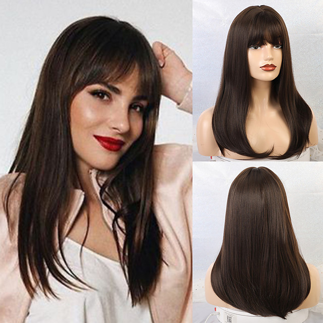 Synthetic Wig Straight Matte Classic Middle Part Neat Bang Wig Long Black / Brown Synthetic Hair 20 inch Women's Waterfall Dark Brown