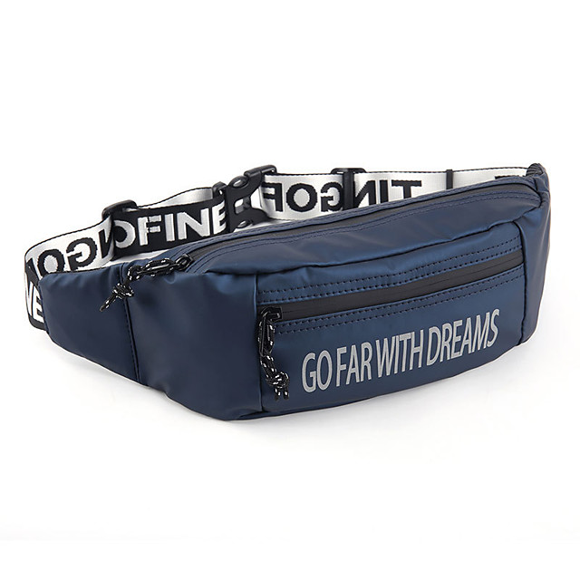 Running Belt Fanny Pack Belt Pouch / Belt Bag for Running Hiking Outdoor Exercise Traveling Sports Bag Reflective Adjustable Waterproof PU Men's Women's Running Bag Adults