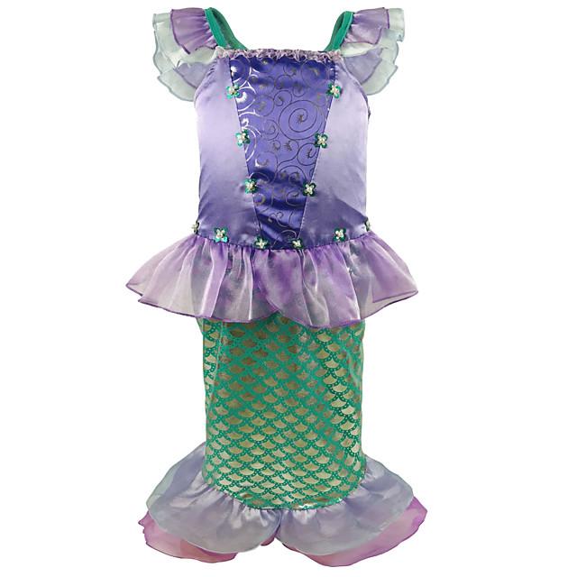 The Little Mermaid Princess Dress Flower Girl Dress Girls' Movie Cosplay A-Line Slip Purple Dress Children's Day Masquerade Satin / Tulle